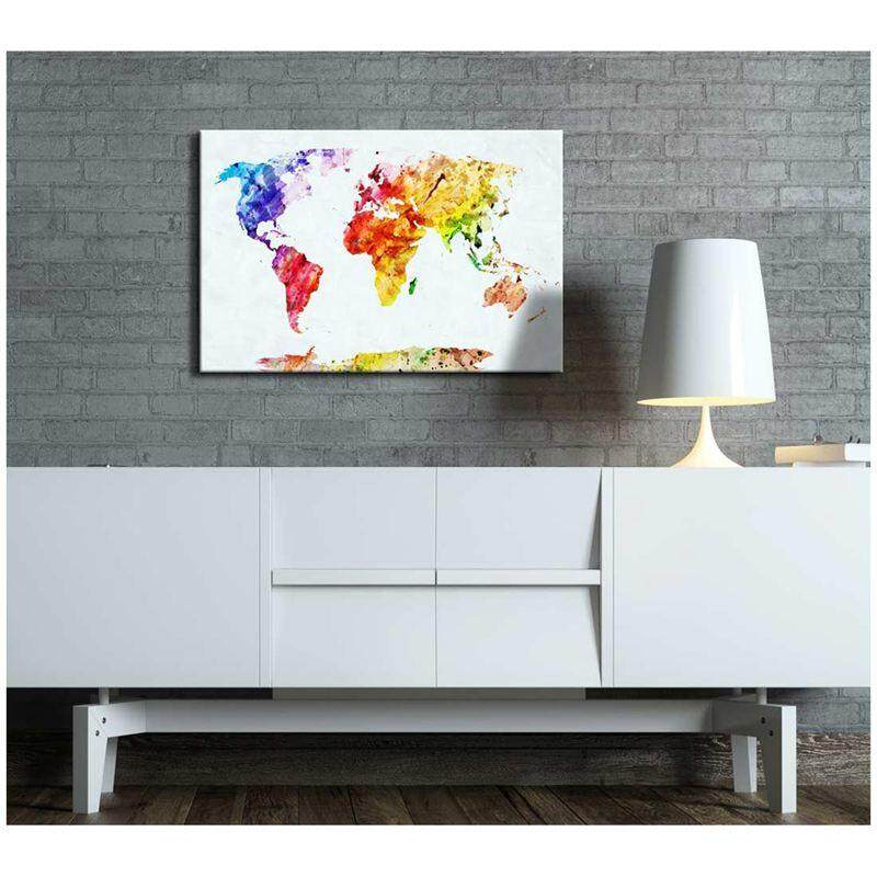 Features canvas prints wall art watercolor style world map modern canvas prints wall art watercolor style world map modern wall decor home decoration stretched publicscrutiny Gallery