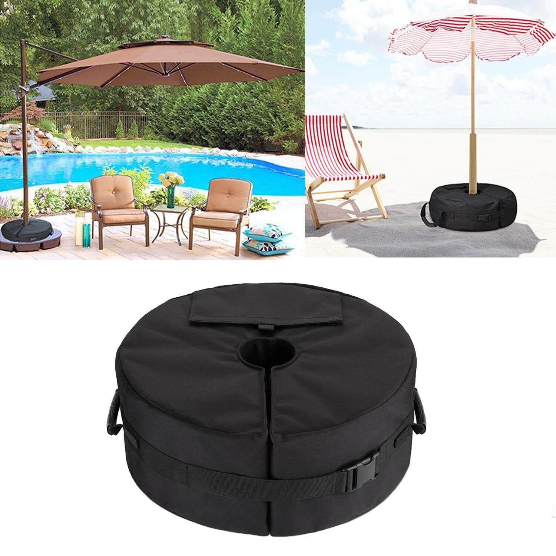 Round Detachable Patio Umbrella Base Weight Bag Stand for Offset Cantilever Standard Outdoor Patio Umbrella Flagpole (Black) - intl