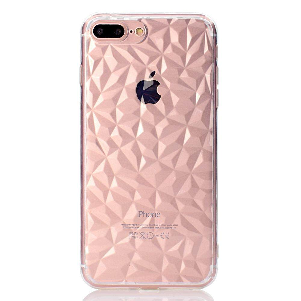 Penutup Belakang untuk iPhone 7 Plus Case Transparan Lembut TPU 3D Pola Berlian Telepon Seluler Pelindung