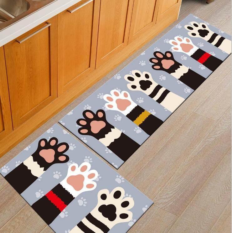 2PCS Antislip Carpet (120cm x 40cm) Free (60 x 40cm) Soft Flannel Carpet Rug Floor Mat Kitchen and Bathroom - intl