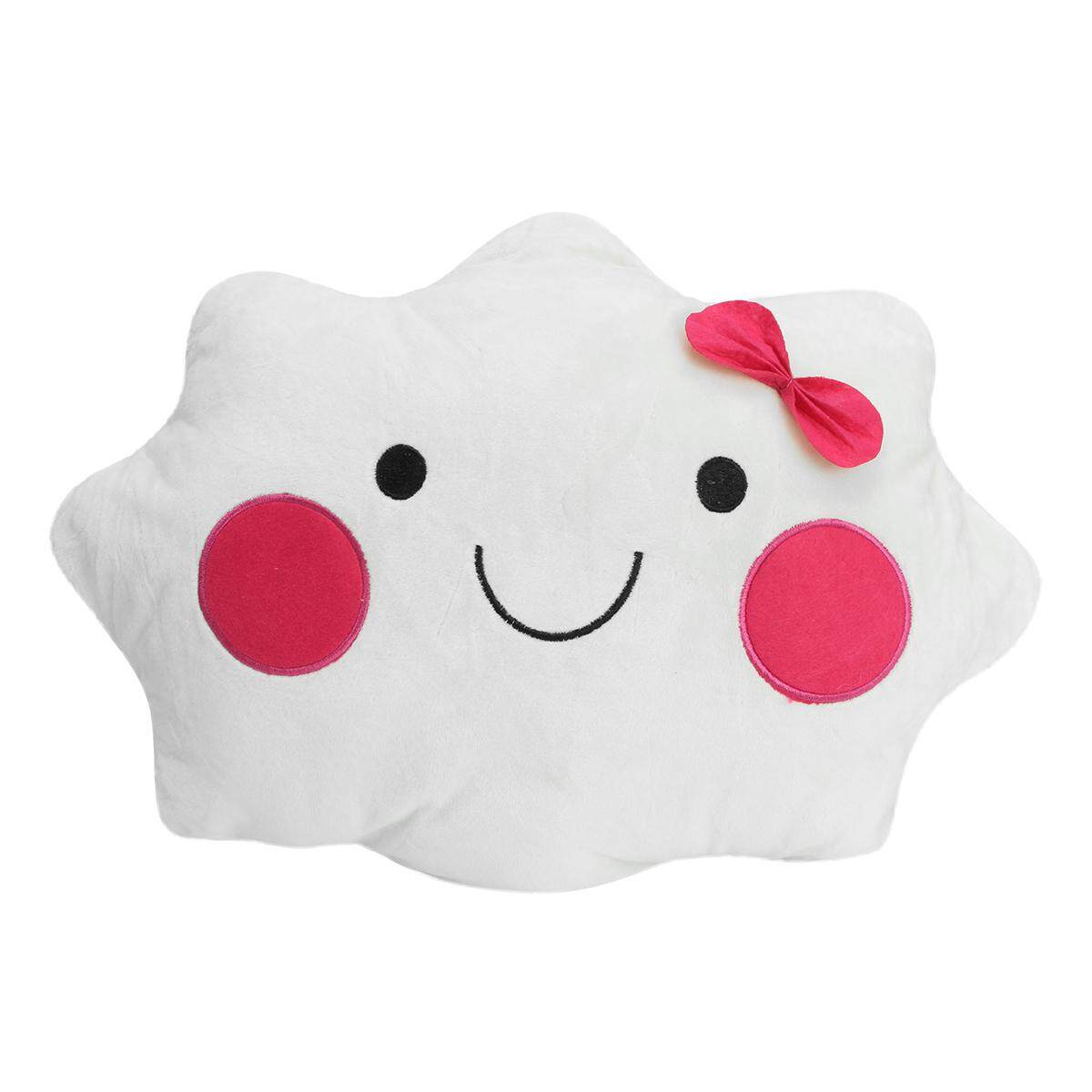 Hình ảnh Cute Smile Face Cloud Plush Pillow Bow Sweet Couch Sofa Back Cushion Home Office # 45cm