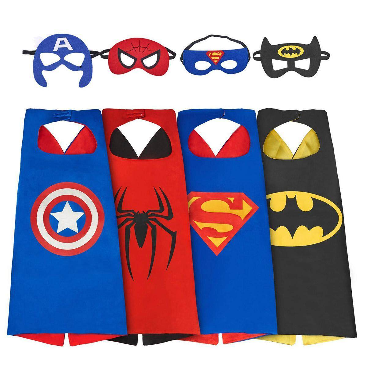 Superhero Costume Cos-Play For Boys, 4 Sets Superhero Dress Up Costumes For Kids, Capes And Mask Costumes (3-8 Boy Costumes),halloween, Christmas, Party By Kobwa Direct.