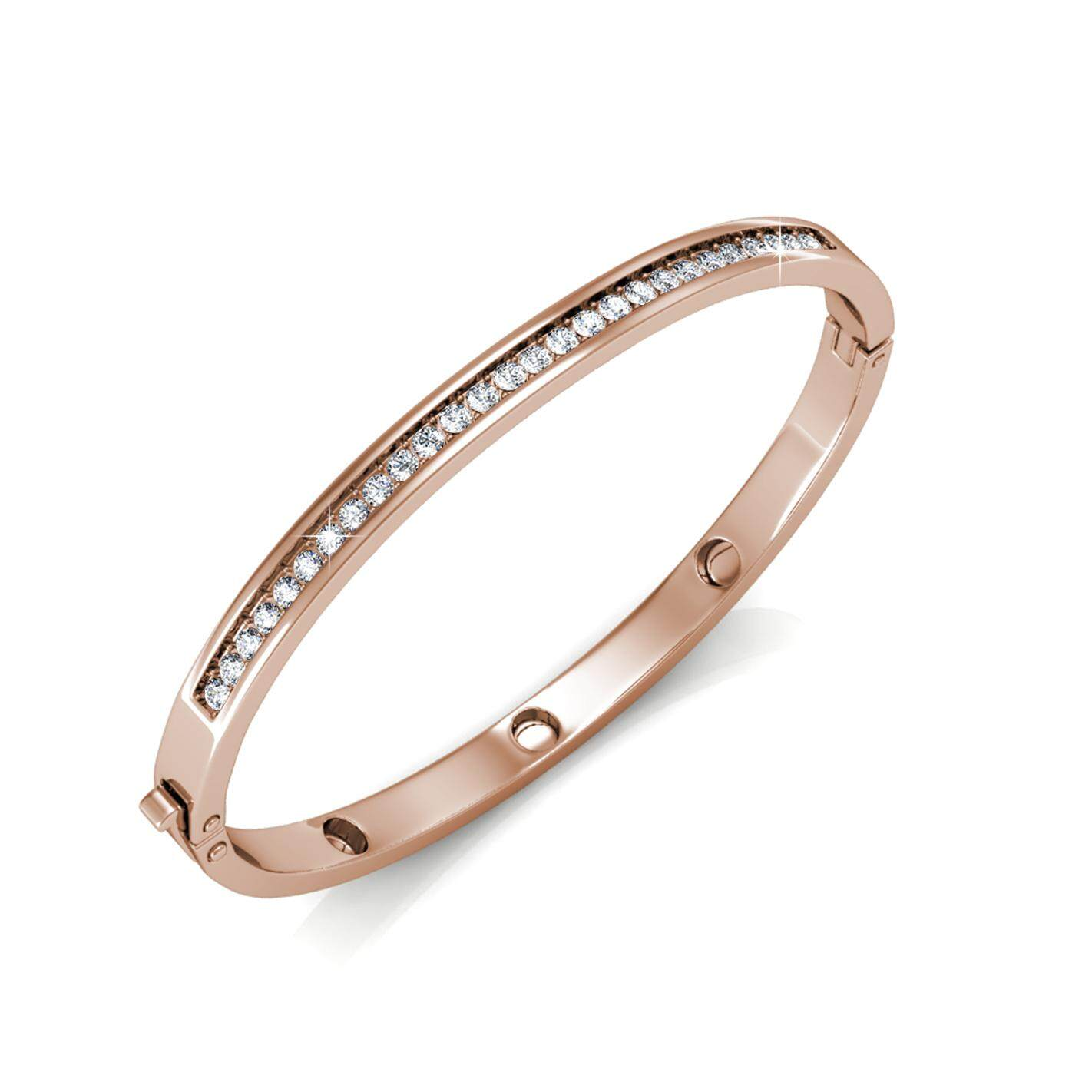 Her Jewellery Classic Bangle (Rose / White Gold) embellished with Crystals from Swarovski