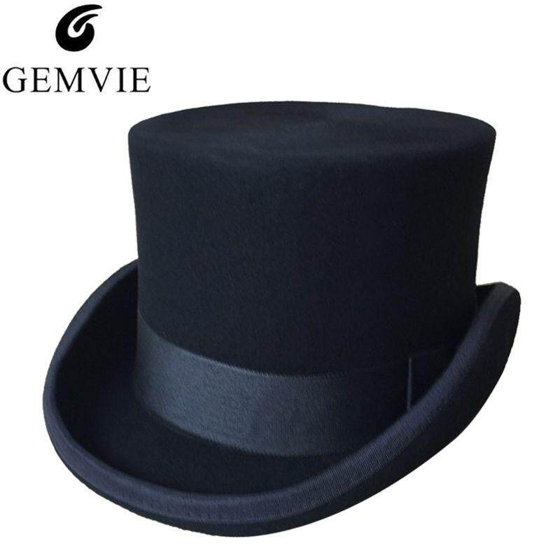 af51c61e00c GEMVIE Halloween Cosplay Magician Caps Steampunk Wool Top Hats For Women  Men British Punk Style Fedora