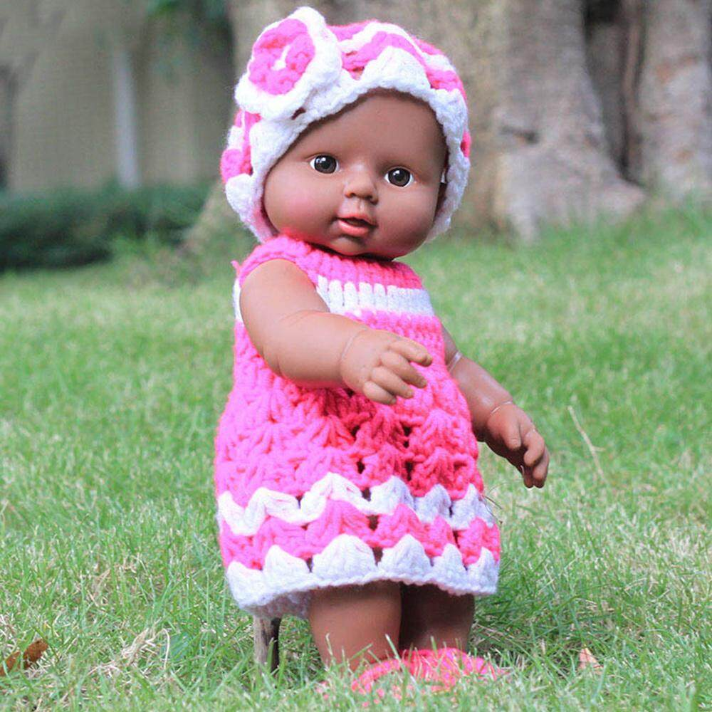MayLer Store Reborn African Doll Sweater African Girl Cute Sweater Wearing Bearheaded Kids Toys Simulation Baby