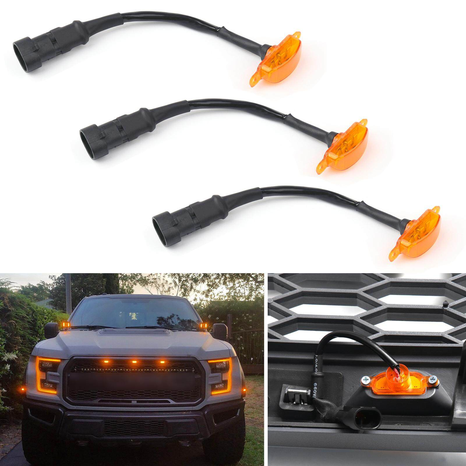 Areyourshop 3x Bumper Grille Led Light Grill For Ford F-150 F150 2015-2019 Raptor Style By Areyourshop.