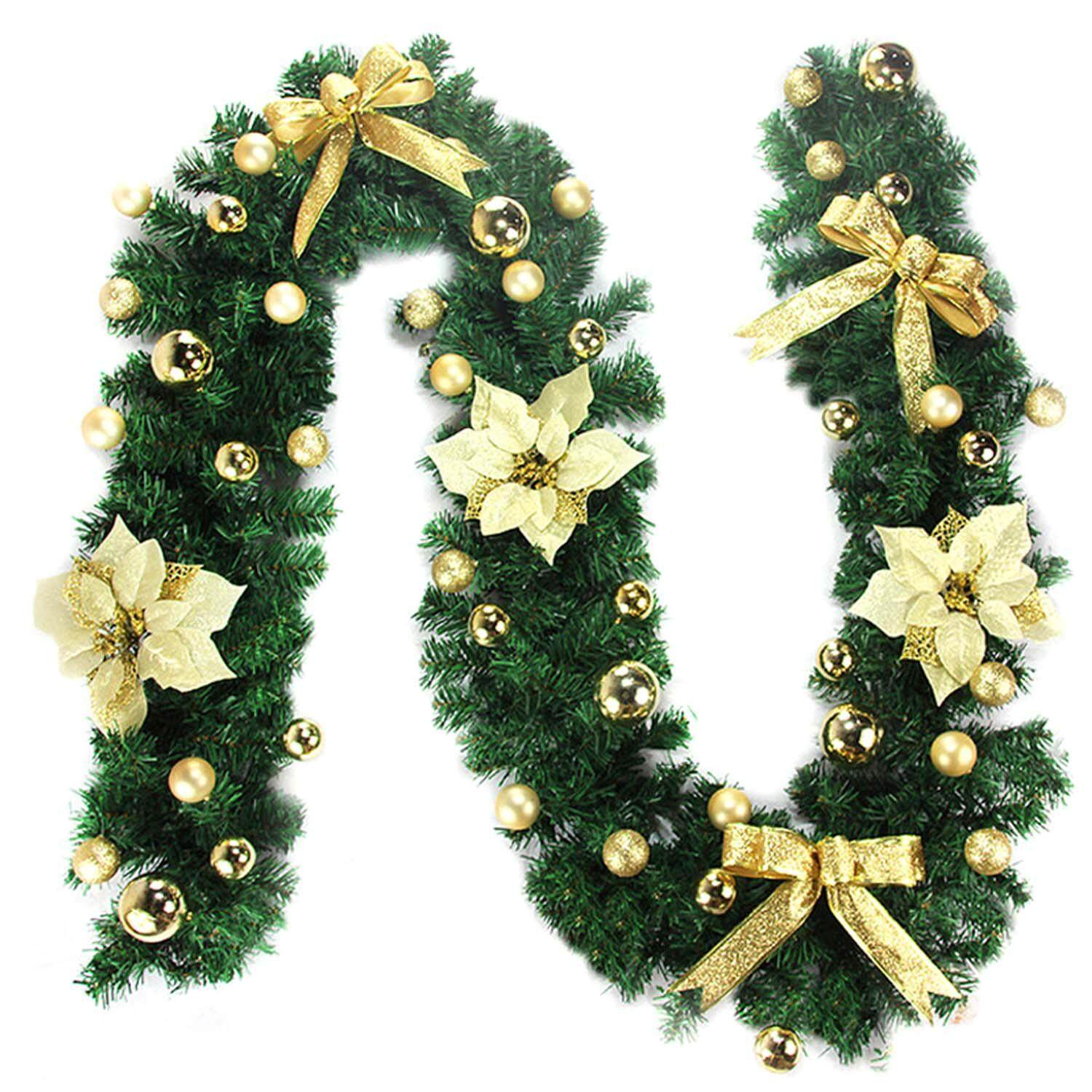 2.7m Christmas Artificial Garland Vine Ornament Decoration for Home Shop Supermarket Mall Party Wall Window Outdoor