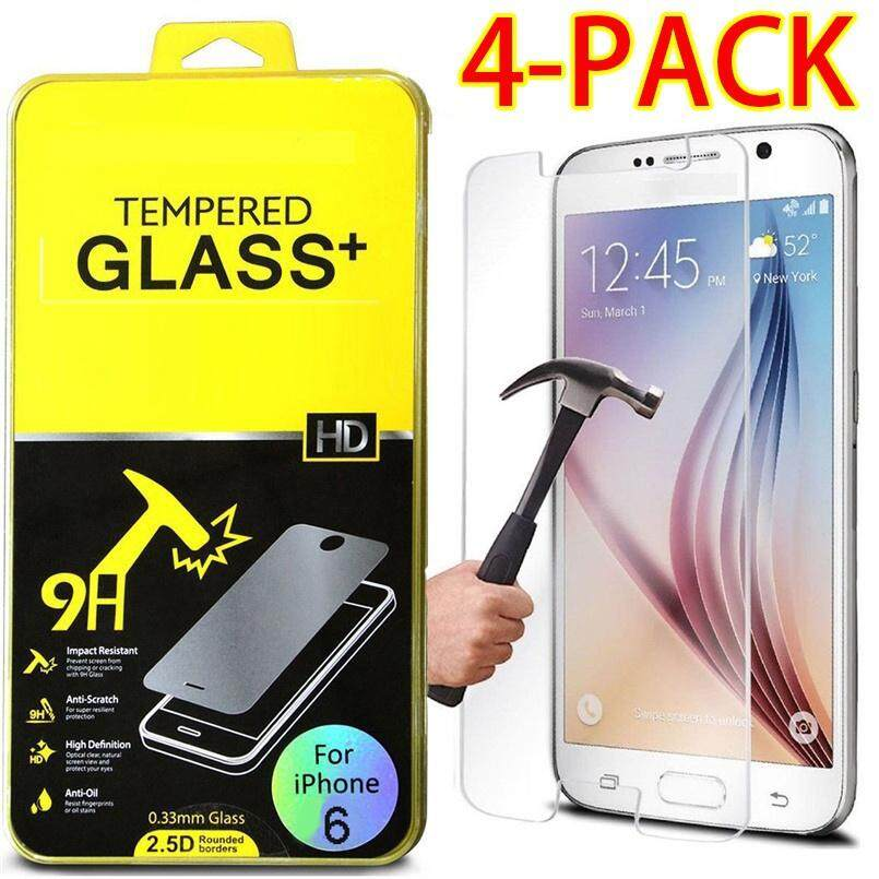 4 Pcs Ultra Slim Tempered Glass Film Screen Protector Shockproof Cover for IPhone X 4 4s 5 5s 6 6s 7 7s 8 Plus glass huawei P8 P9 P10 lite mate7 8 9 samsung A3 A5 A7 A8 S3 S4 S5 S6 S7 S8 J3 J5 J7 2016 prime(Google Pixel XL) - intl