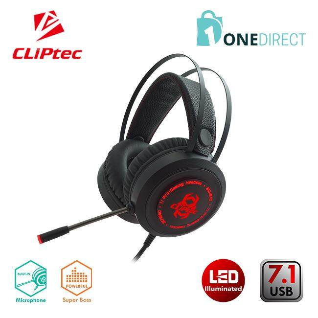 CLiPtec MIKAZOUS USB 7.1 LED Illuminated Pro-Gaming Headset BGH840