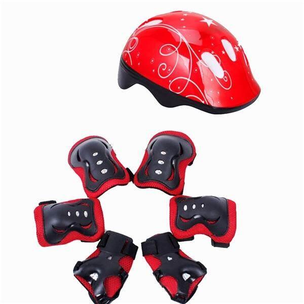7 Pcs Anak-anak Siku Pergelangan Lutut Bantalan Helm Sepeda Anak Olahraga  Perlengkapan Perlindungan Aman d86151b8b6