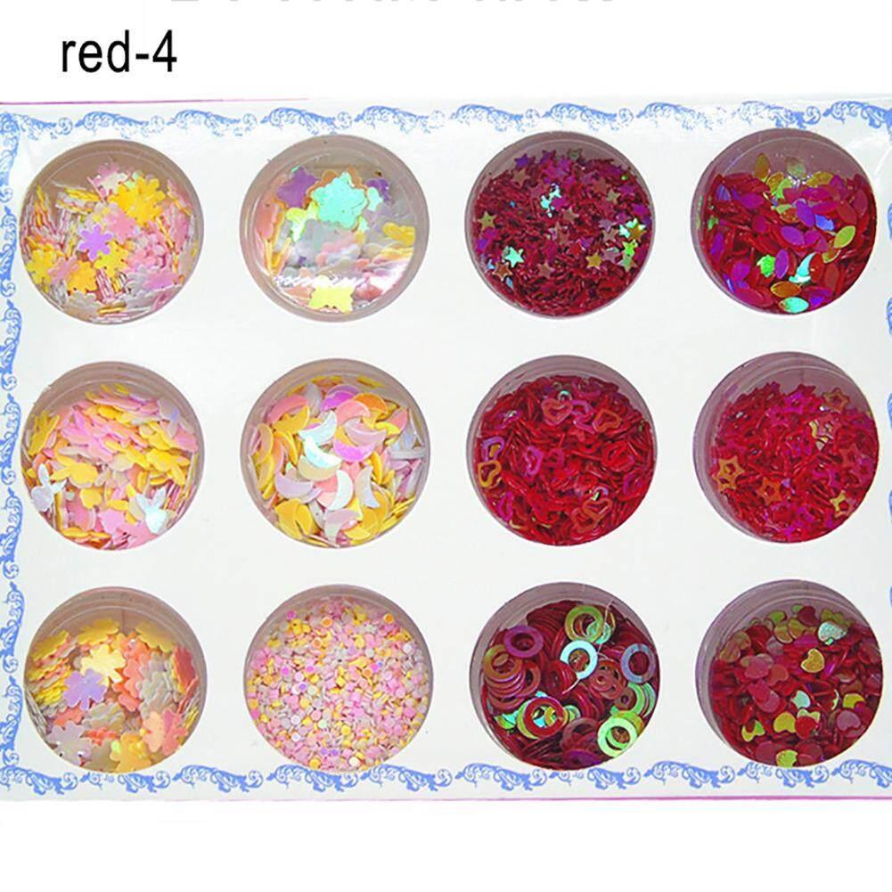 Bluelans® 12 Jars/1 Box Shiny Sweet Pattern Manicure Nail Art Eye Make-