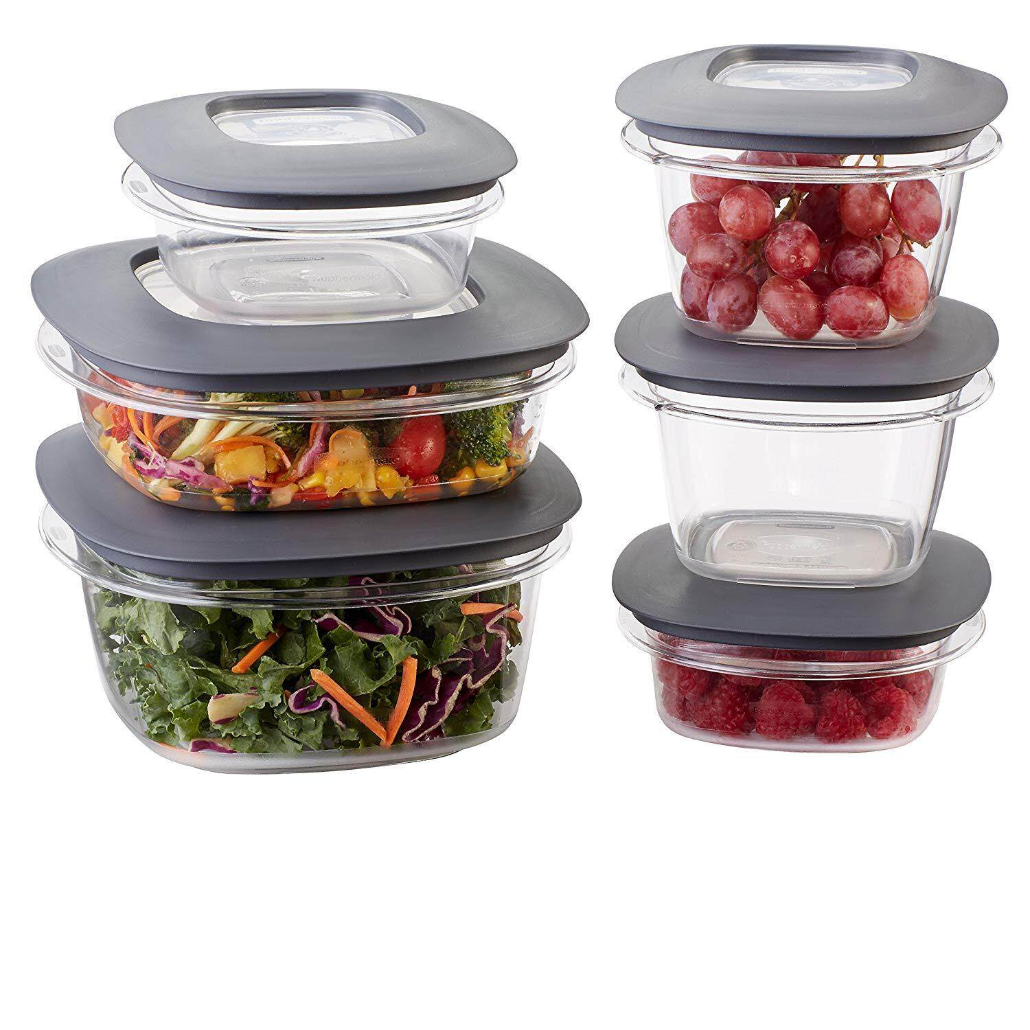 Rubbermaid Premier Easy Find Lids Food Storage Containers, Gray, Set of 12