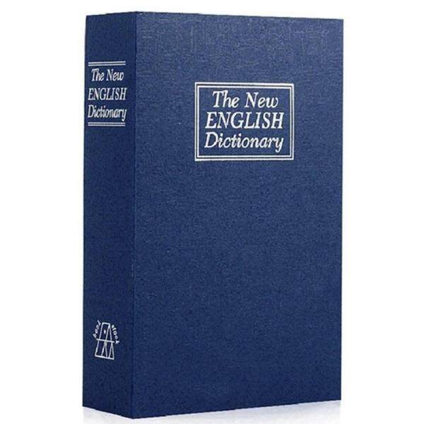 Dictionary Book Safe Diversion Secret Hidden Security Stash Booksafe Lock&Key Blue