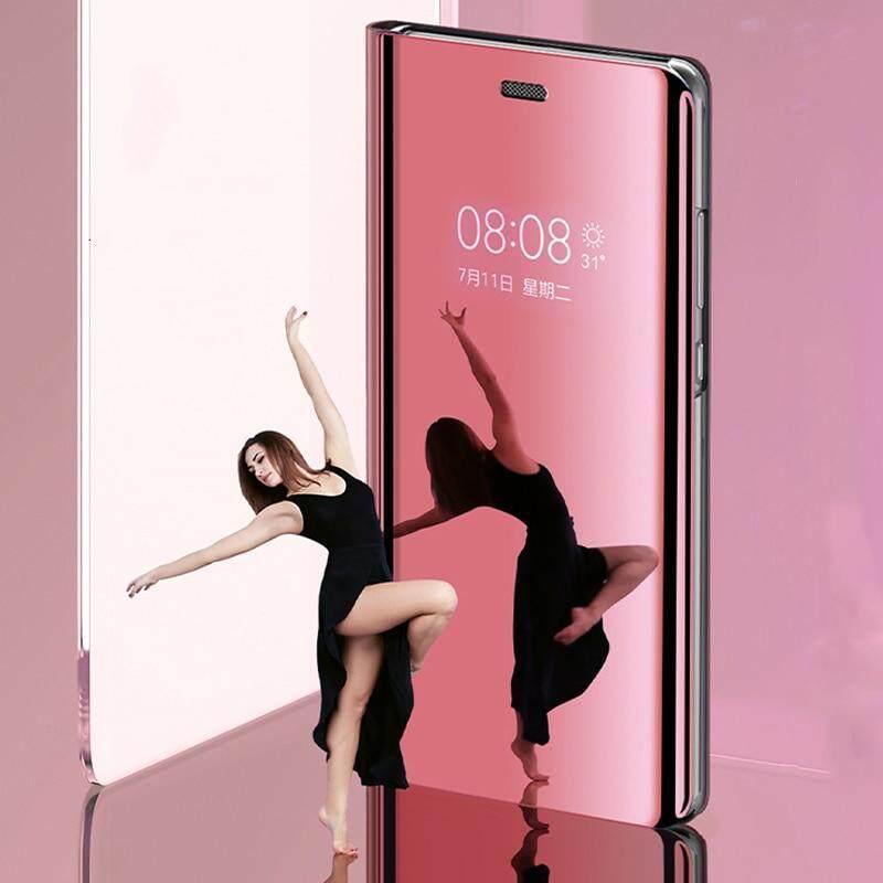 Untuk Galaxy J4 Plus Tutup Terbalik Mewah Plating Smart Case Cermin Pandangan Jelas Transparan Casing untuk Samsung Galaxy J4 Plus Case Perumahan - 5