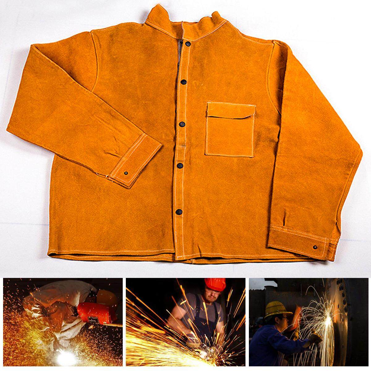 Welders Jacket Cow Leather Apron Protective Clothing Welding Safety Apparel New 3XL Size