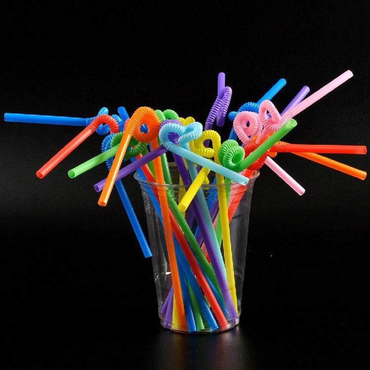 Hình ảnh 100 Pcs Flexible Plastic Bendy Party Disposable Drinking Straws Kids Birthday Wedding Decoration