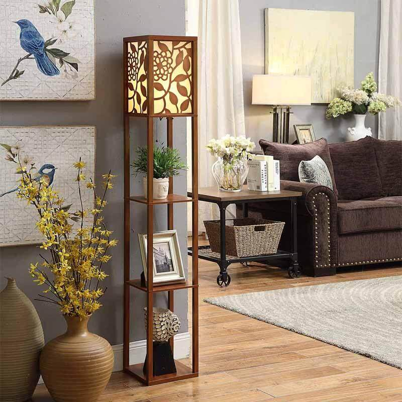 High Quality Creative Chinese Style Floor Lamp Vertical Wooden Floor Lamp Living Room Resident Lamp Indoor Lighting By Dongpeng.