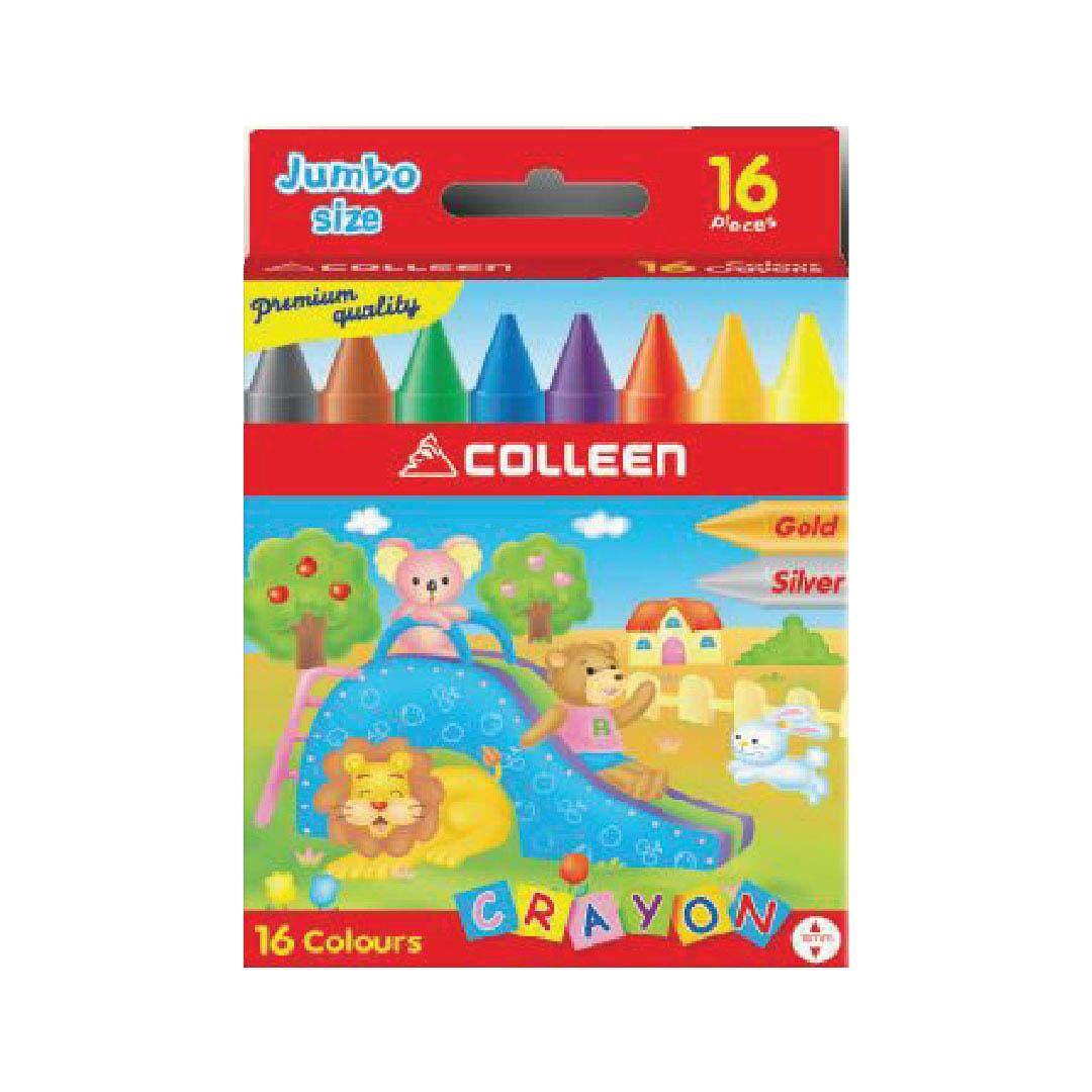 JUMBO WAX CRAYON (16 COLORS) - ROUND
