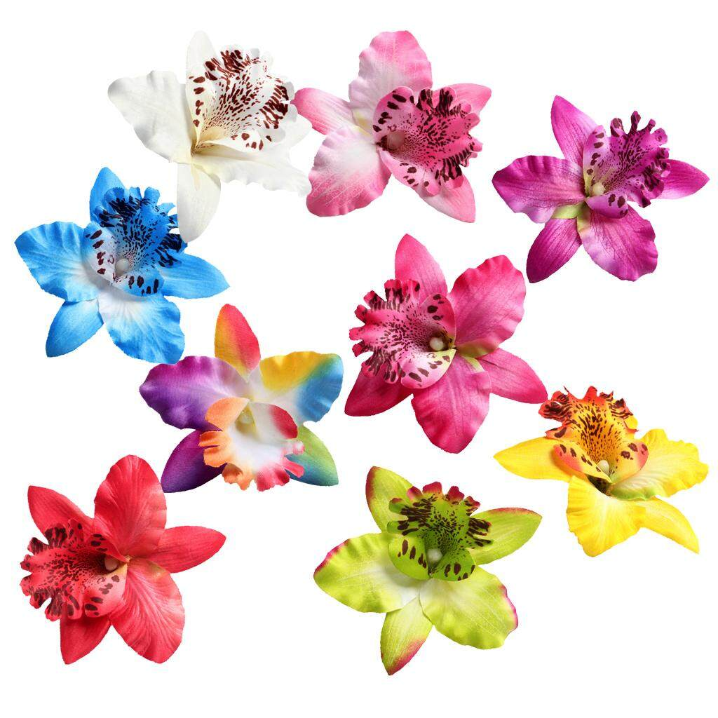GuangquanStrade 10 Pieces Artificial Silk Orchid Flower Heads for Wedding 9cm Assorted color