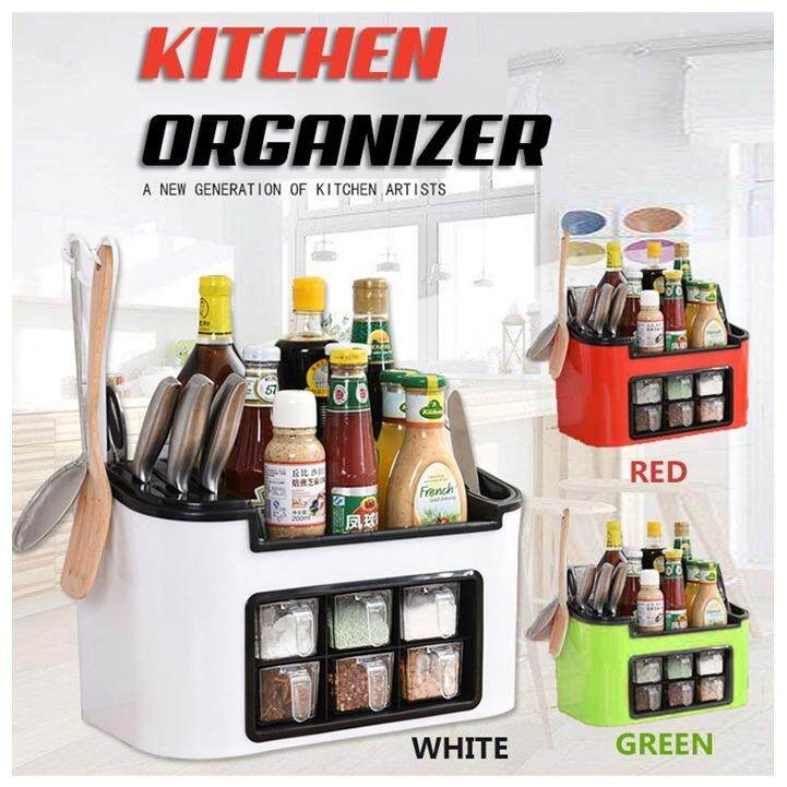 All in One Multifunctional Kitchen Rack Six Grid Condiments Seasoning Storage Box Kitchen Organizer (Red)
