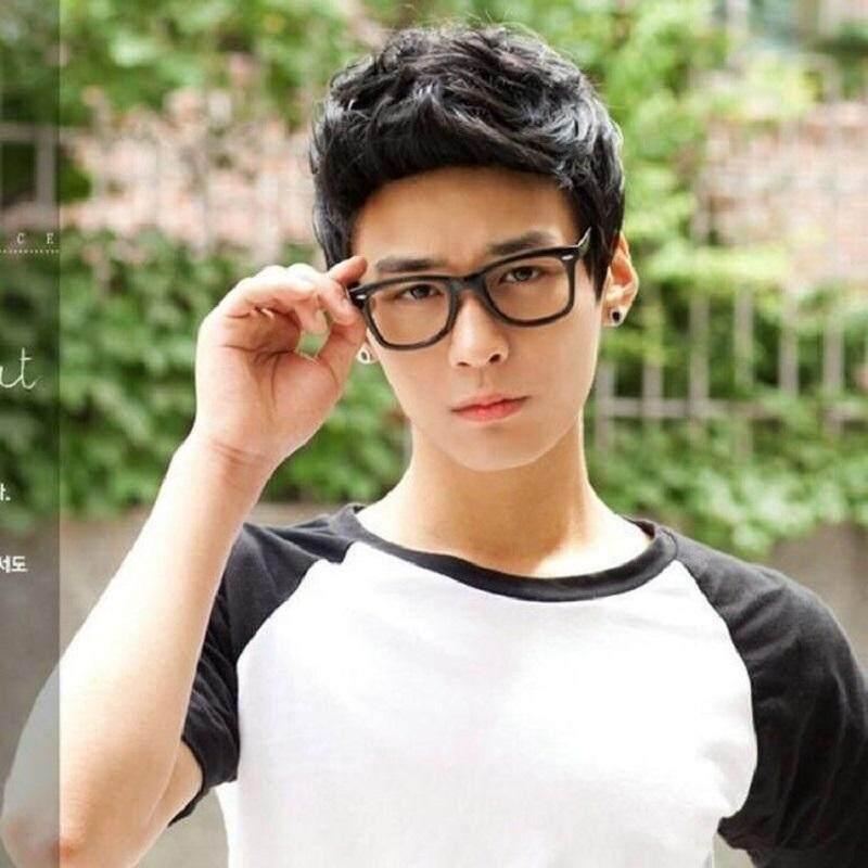 ... Fashion Keren Pria Anak Laki-laki Tampan Hitam Wig Pendek untuk Pesta  Topeng Cosplay Kostum 09bee71e58