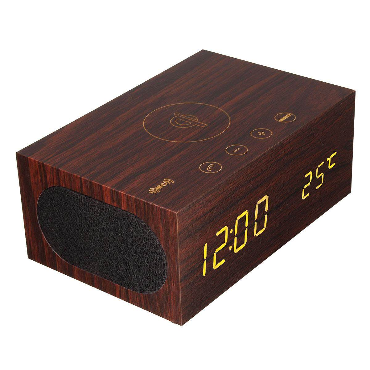 ELEGIANT Wooden Wireless Bluetooth 4.0 Speakers Treble / Bass Operating System Touch Clock Alarm UK Plug