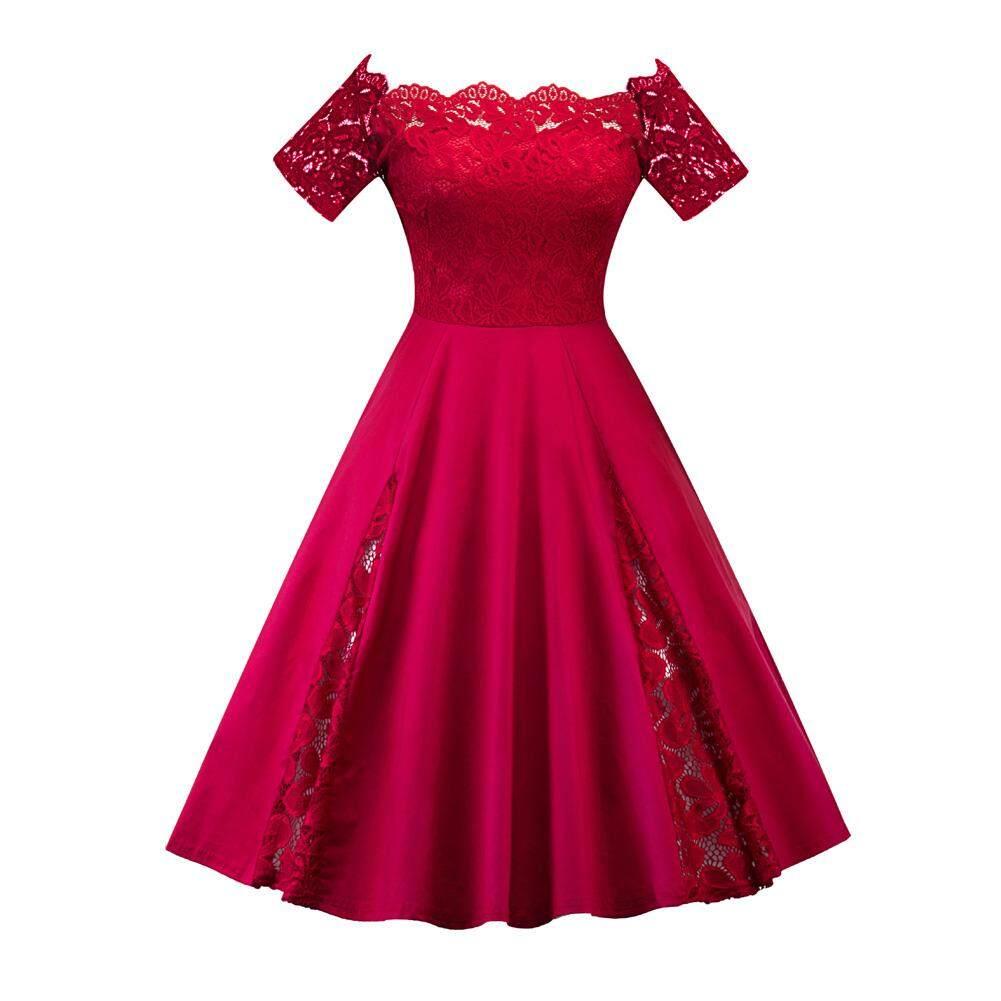 Amart Fashion Wanita Renda dari Bahu Patchwork Gaun Tangan Pendek Lipit A-line Kantor OL