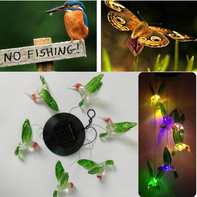 La Cavalerie Solar Lamp Color Changing LED Hummingbird Wind Chimes Light Outdoor Garden