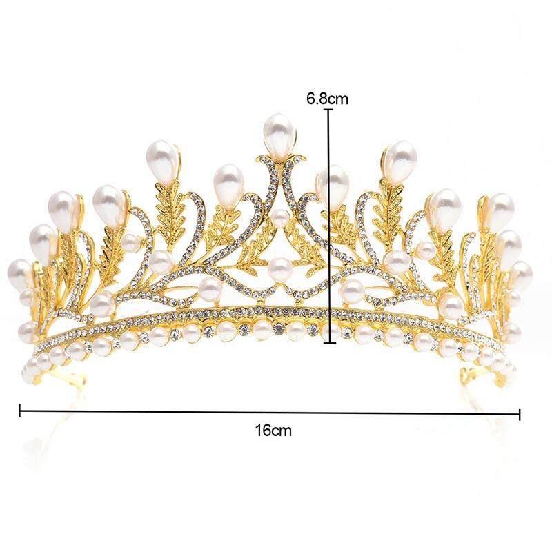 ... Mahkota Kristal Mutiara Emas Mewah Pengantin Perhiasan Pernikahan - 3