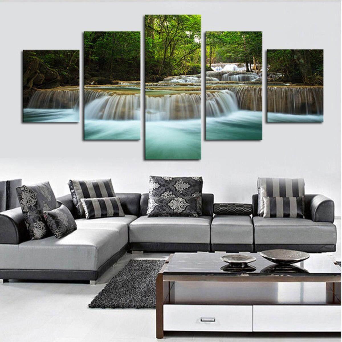 Trang Trí nhà In Canvas Tranh Nghệ thuật treo Tường Hiện Đại Thác Nước Sông Rừng không gọng #30x40x2 30x60x2 30x80