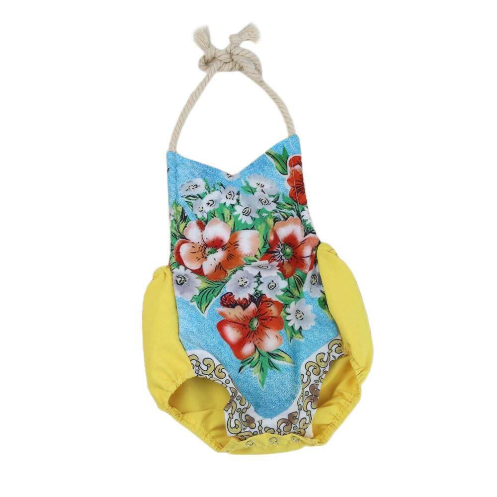 Ormondshop Balita Bayi Baru Lahir Perempuan Motif Bunga Tali Baju Monyet Setelan Luar Pakaian-Intl