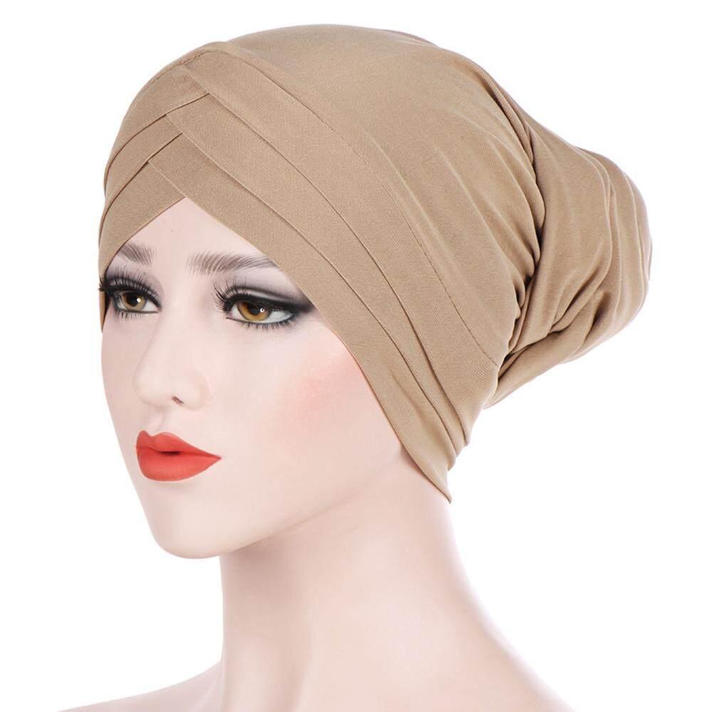 bfad4760369 Women Solid India Hat Muslim Ruffle Cancer Chemo Beanie Scarf Turban Wrap  Cap