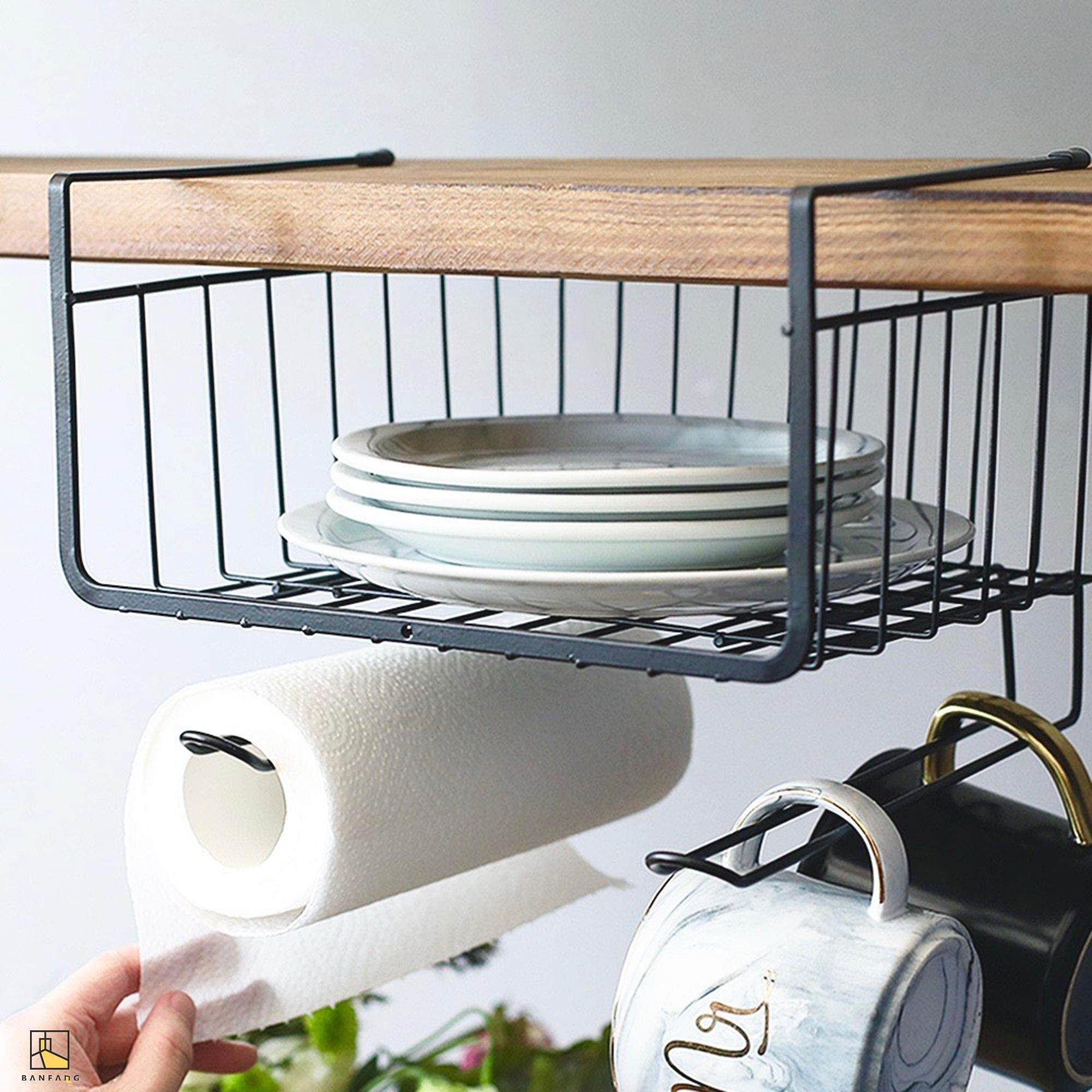 BANFANG Under the kitchen cabinet hanging basket rack free shipping dish rack kitchen cabinet storage rack lunch box rack kitchen rak pinggan dish drainer shelf rack kitchen storage cake stand stainless steel kitchen rack food container cake mould dish dr