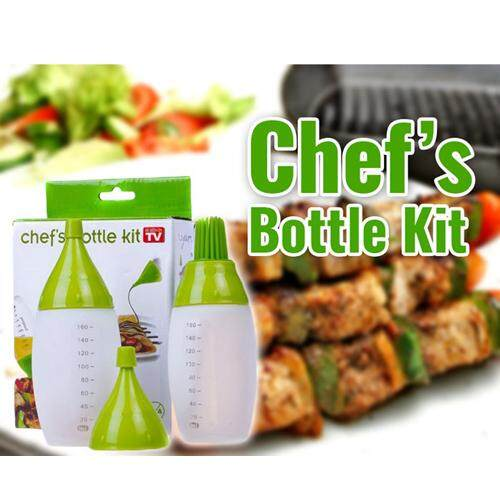Chefs Bottle Kit easy to fill wide mouths and measurement marks