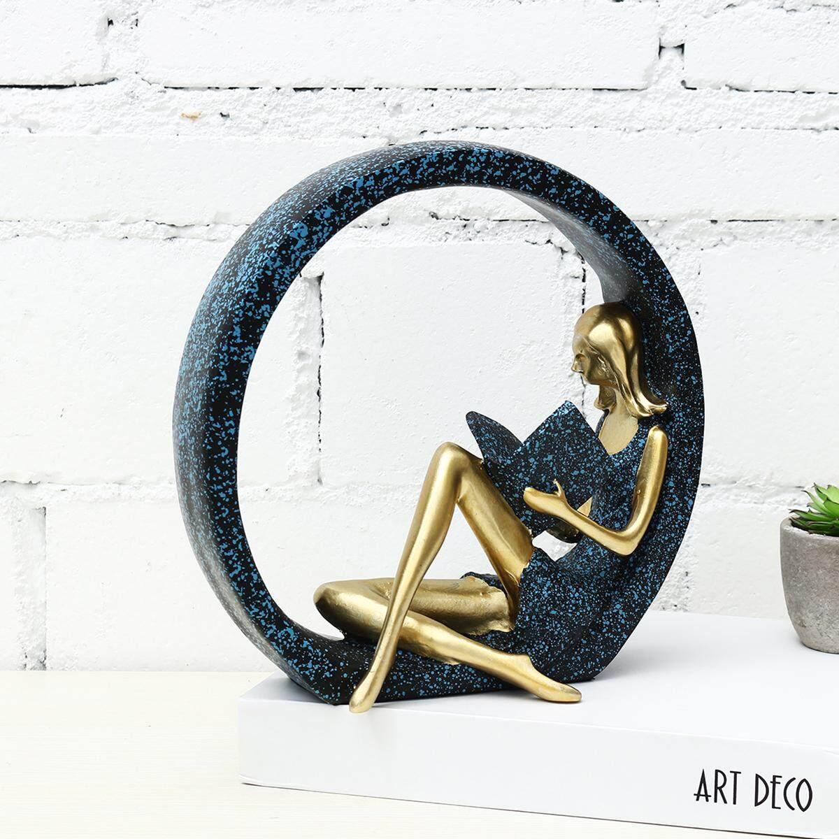 Modern Dancing Reading Girl Resin Sculpture Statues Ornament Home Office Decor