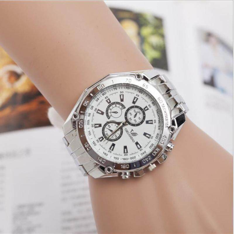 The new alloy steel band male female watch full drill side three decorative quartz watch(White dial) Malaysia