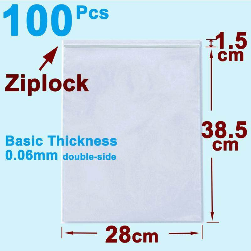 af9269f5bb8 100pcs Ziplock Resealable Poly Bag 28cm x 40cm Large Size for Packing  Clothes Clear Plastic Self