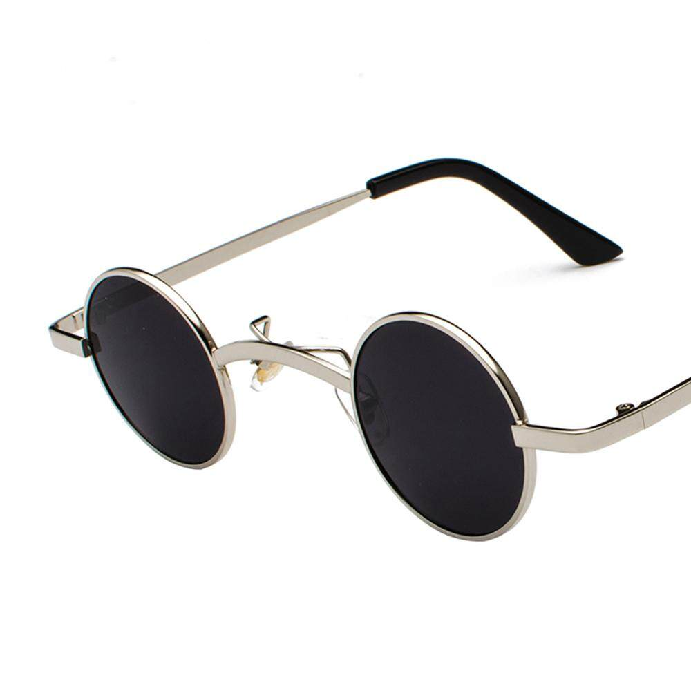 2de4fd45a358 Retro Mini Sunglasses Round Men Metal Frame 2018 Gold Silver Full Black Red  Blue Small Round