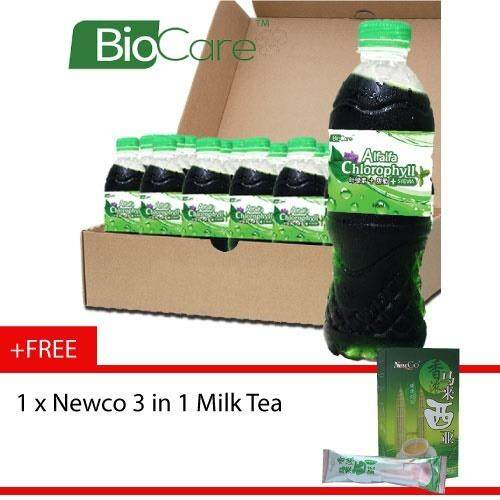 Biocare Alfalfa Chlorophyll drink 24 X 500ml - Free Newco 3in1 Milk Tea