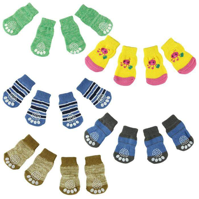 Cocolmax Fashion 4pcs Cute Puppy Dogs Pet Knits Socks Anti Slip Skid Bottom By Cocolmax