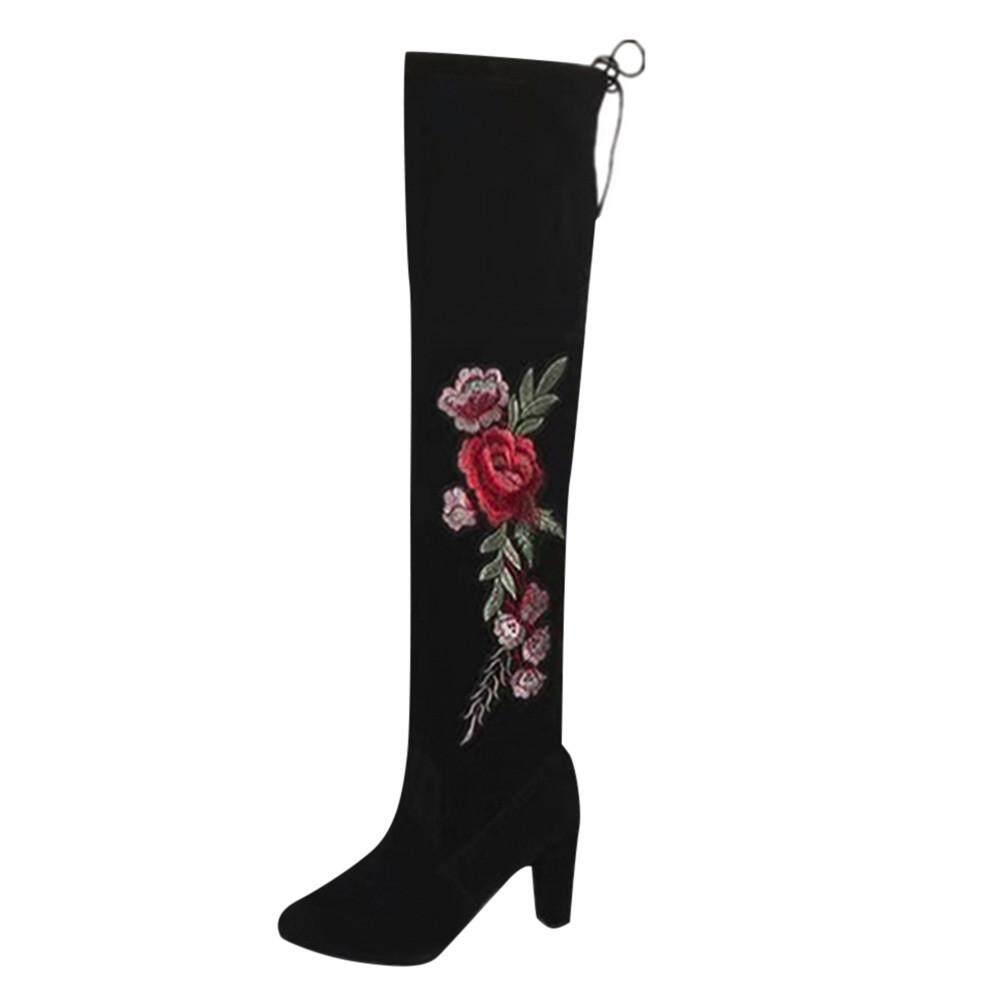 (Kohlershop)-Wanita Mawar Menyulam Paha Tinggi Sepatu Bot Sepatu Bot Di Atas Sepatu Bot Setinggi Lutut Kumpulan Sepatu Hak Tinggi Sepatu