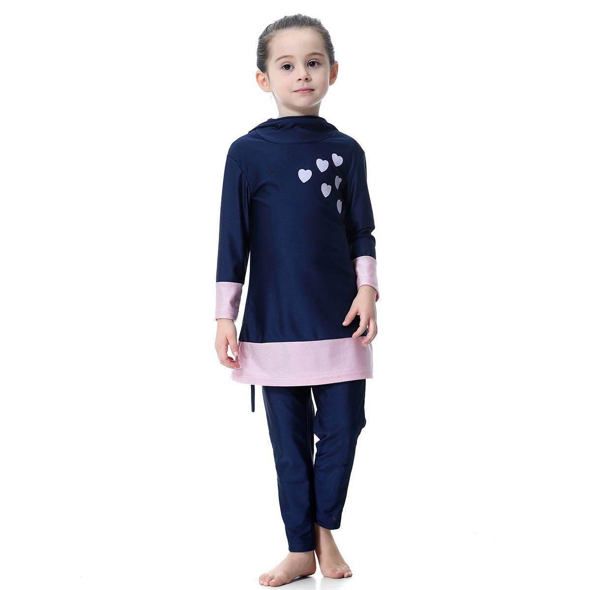 Hình ảnh Flower Printing One Piece Girls UV Protection Full Cover Muslim Swimwear Islamic Swimsuit Hijab Girls Clothes H2008 - intl