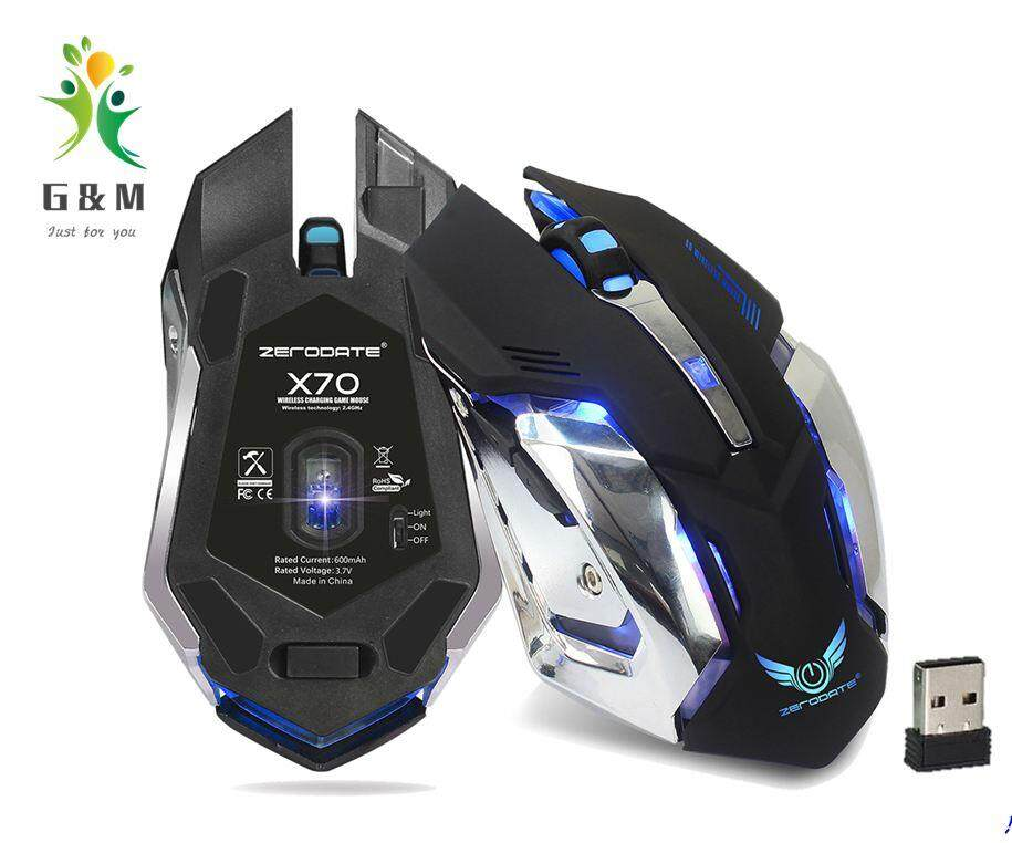 G&M 2.4G USB Charging wireless mouse,2400dpi LED Backlit Mute Optical Ergonomic Gaming Mouse Malaysia
