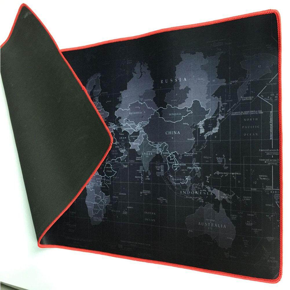 Mua World Map Computer Mouse Pad Rectangle Non-Slip Rubber Mousepad Size:300 × 600 × 3mm black