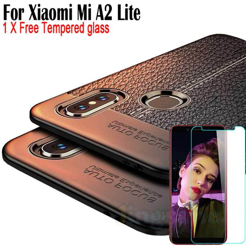 For Xiaomi Mi A2 Lite [Free Tempered Glass] Luxury Supper Rugged Leather Pattem Design