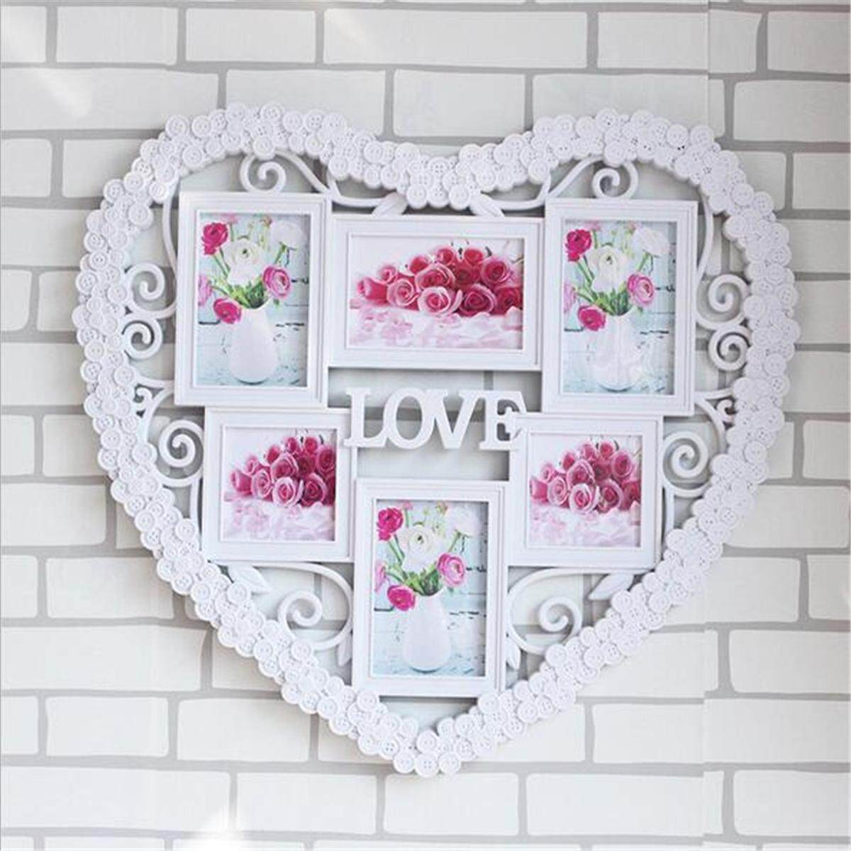 60*55CM 6 Pictures Love Heart Photo Frame Wedding Mount Collage Wall Home Decor