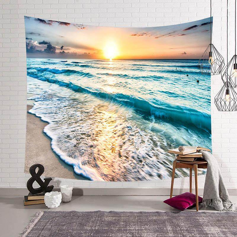 Sandbeach Sea Wave Wall Hanging Tapestry Mandala Tapestries Home Decor for Living Room Bedroom Dorm Room Beach Towel 150x130cm - intl