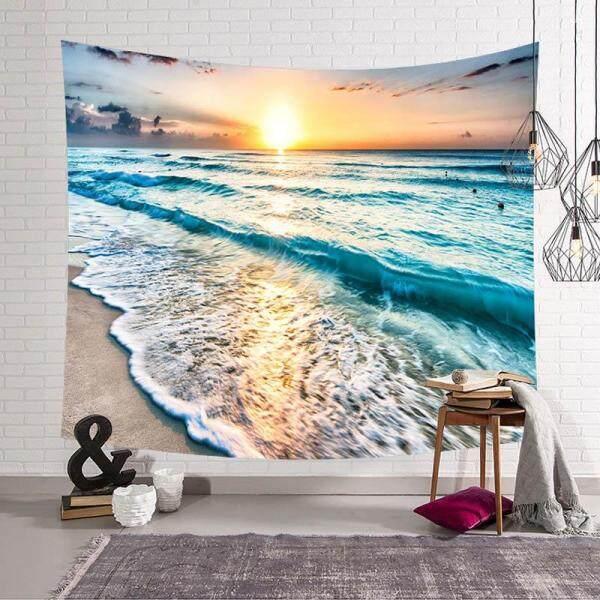 Sandbeach Sea Wave Wall Hanging Tapestry Mandala Tapestries Home Decor for Living Room Bedroom Dorm Room Beach Towel 150x130cm - intl