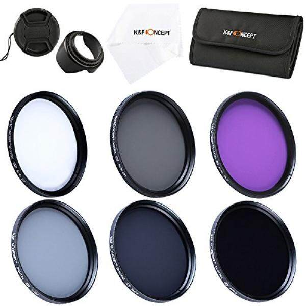 K&F Concept 58mm 6pcs FLD CPL UV ND2 ND4 ND8 Lens Accessory Filter Kit UV Protector Circular Polarizing Filter for Canon 600D EOS M M2 700D 100D 1100D 1200D 650D DSLR Cameras + Microfiber Lens Cleaning Cloth + Petal Lens Hood + Center Pinch Lens Cap