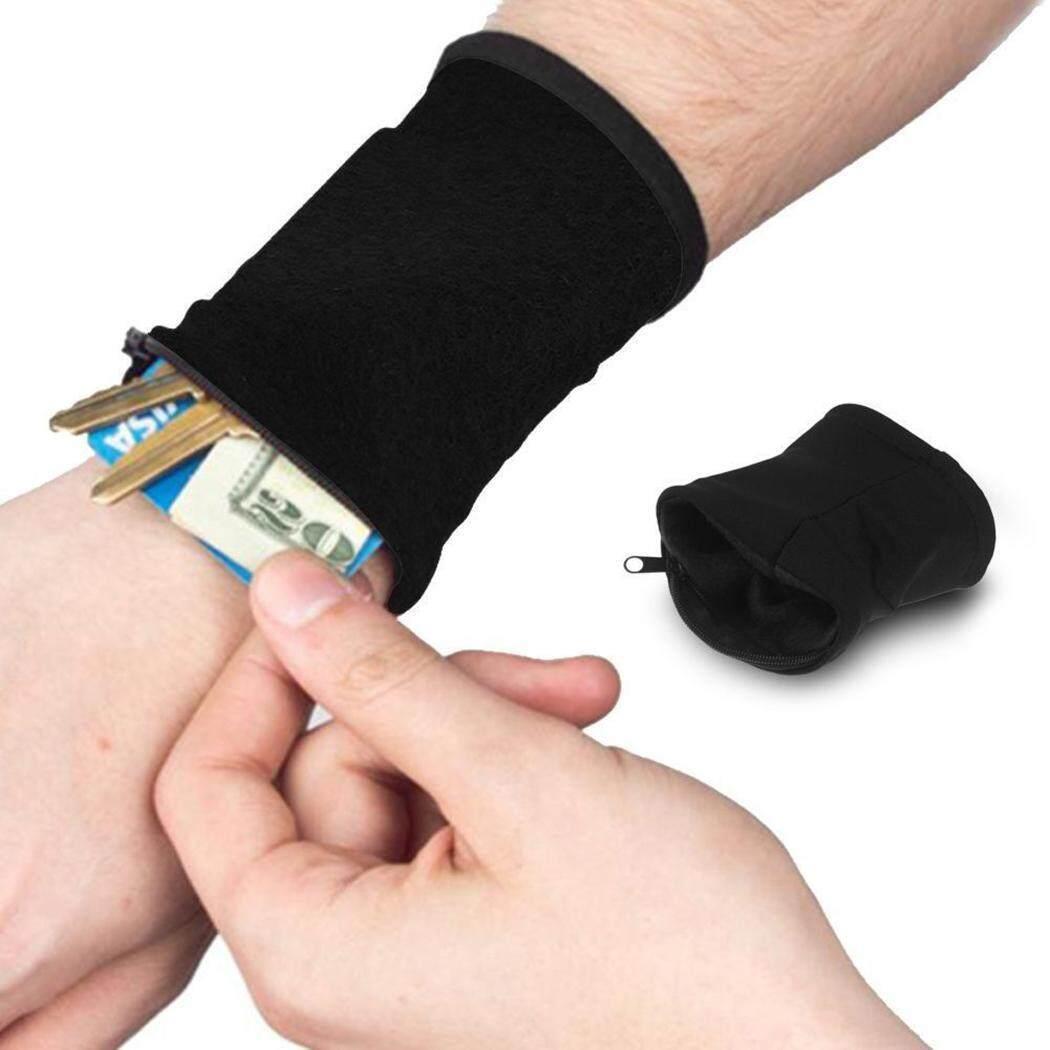 Fashion Promosi Olahraga Tebal Solid Elastis Kartu Kredit Kunci Pergelangan Tangan Dompet dengan Ritsleting-Intl